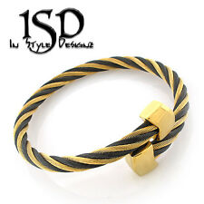 Stainless Steel Women's Twisted Cable Wire Bangle Bracelet Black Gold 8""