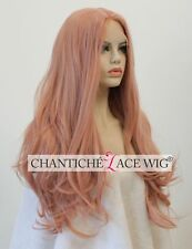 Women's Pink Front Lace Wigs Synthetic Hair Long Natural Wavy Heat Friendly UK