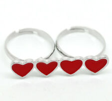 10PCs BD Enamel Red Love Heart Two Fingers Double Rings Adjustable 18.3mm US 8