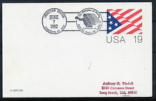 1992 Special `Station` cancel. 19c Card. `Boxing Hall of Fame, Canastota, NY`
