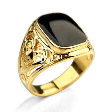 Hot Filled Rose Gold Black Onyx Men's Ring Boys Band Finger Rings Punk Jewelry