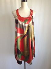 BCBG MAXAZRIA Multicolor Print Satin Scoop Neck Sleeveless Tunic Mini Dress Sz L