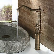 Tall Antique Brass Finished Bathroom & Kitchen Basin Mixer Water Tap Sink Faucet