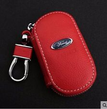 Red Genuine Leather cowhide Car Key Holder Keychain Ring Case Bag For Ford