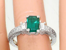 1.51Ct Genuine Natural Emerald And Diamond Ring Solid 14K White Gold Made In USA