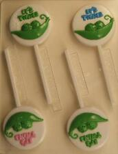 PEAS IN A POD IT'S TWINS LOLLIPOP CHOCOLATE CANDY MOLD PARTY FAVOR BABY SHOWER