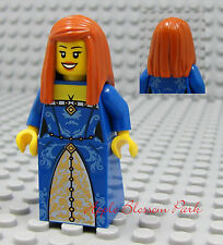 NEW Lego Pirates Orange Hair FEMALE MINIFIG -Dark Blue Dress/Skirt Princess Girl