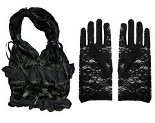 BLACK VELVET LACE RUFFLE RIBBON STEAMPUNK VICTORIAN GOTHIC BAG & LACE GLOVES