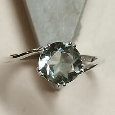 Natural 2ct Green Amethyst 925 Solid Sterling Silver Solitaire Ring sz 8