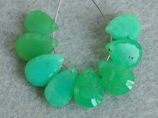 Natural Green Chrysoprase Concave Pear Pan Cut Briolette Gemstone Beads 002