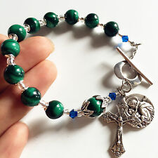 UNDOUBTED Malachite BEADS BRACELET ROSARY CROSS Sterling Silver flower CATHOLIC