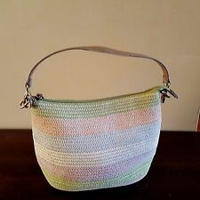 Pastel Striped Hobo Purse Medium Size Woven Knit Handbag Shoulder Bag Cato