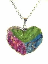 BUTW Silver Electroformed Druzy Crystal Tricolor Heart Pendant Necklace 5349K