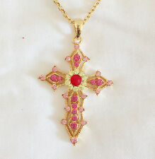 New Pink Gold Crystal Holly Cross Charm Chain Good Fortune Necklace Gift NE1035