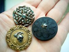Antique Cut Steel Button Lot 3 pc, Individually Riveted, Rubber, Strawberry