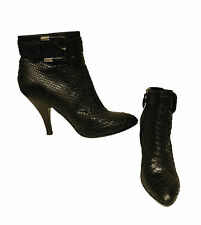 Burberry Ankle Boots Black Prorsum 38.5 Eu Women Snake Skin Booties with Buckle