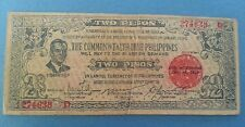 Philippines PK 1942 S647B WWII 2 Pesos Guerilla Banknote 274639 D HS