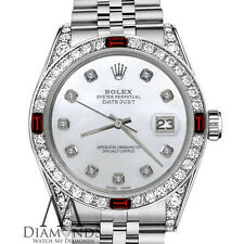 Rolex 36mm Datejust White MOP Dial with Ruby & Diamond Bezel Watch
