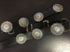 Very Rare Navajo Signed Augustine & Paul Largo Coop .925 Silver Concho Belt