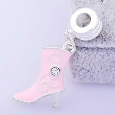 1 Stunning Pink Enamel Crystal Women Boots Charms BEADS Fit European jewellery