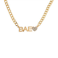Lux Accessories My BAE Pave Heart Boo Girlfriend Gangster Chain Link Pendant Ne