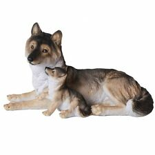 Grey Wolf with Pups Wildlife Collection Figurine Statue 9.5 inch Realistic