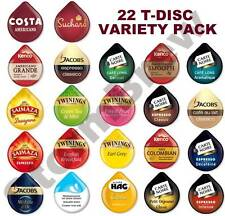 22 TASSIMO T-DISC VARIETY TASTER STARTER PACK: COFFEE, CHOC & TEA FLAVOURS PODS
