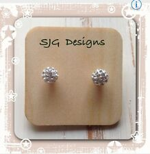 Shamballa Bead 8mm Surgical Ball Stud Earrings - Silver