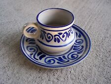 Glazed Stoneware Teacup and Saucer with Blue Scrolls - Mexico