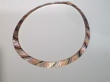 ROSE WHITE & YELLOW  GOLD CLEOPATRA NECKLACE  - SIGNED ITALY VLB  - 17 INCHES