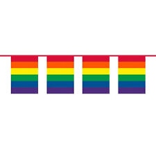 Rainbow FLAG Bunting 10 METRI Gay Pride COLORATA Partito Decorazione 22623