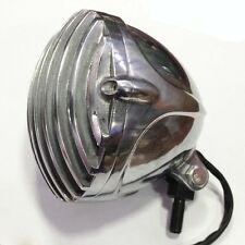 Chrome Motorcycle Finned Grill LED Headlight Cafe Racer Bobber XS650 CB750 TRI