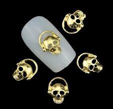 Nail Styling Nagel Design 3D Gold Totenkopf Skull Charm Overlay Schmuck NEU