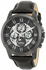 Fossil Men's ME3028 Grant Automatic Skeleton Black Stainless Steel Leather Watch