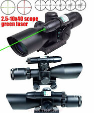 High Quality 2.5-10X40 Rifle Scope w/ Green Laser With Reflex 3 MOA Red Dot HOT