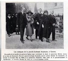 1922  --  CANNES  LES OBSEQUES DE LA GRANDE DUCHESSE ANASTASIE    3K687