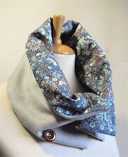 Grey Wool & Cashmere Scarf/Cowl/Neckwarmer with Liberty Cotton Sevil lining