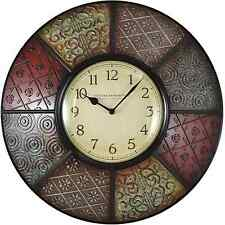 FirsTime 20.5 in. Round Decorative Patchwork Analog Wall Clock Modern Home Decor