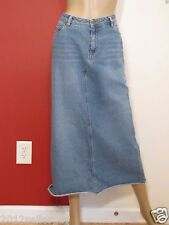 CATO BLUE JEAN 5 POCKET LONG MIDCALF  MODEST STRAIGHT DENIM SKIRT SZ 10