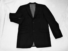 Linea      size 38R        BLACK with BLUE PINSTRIPES  SUIT  JACKET    97%  WOOL