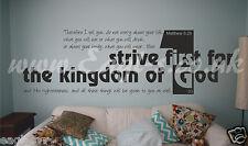 Christian Biblia Vinilo el arte de pared se esfuerzan por primera vez en el Reino Matthew 6:33 Iglesia