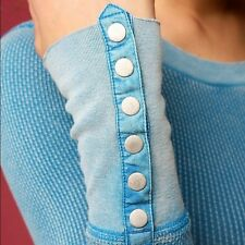 Rare! Free People Distressed Blue Snap Button Cuff Damsel Thermal Top XS