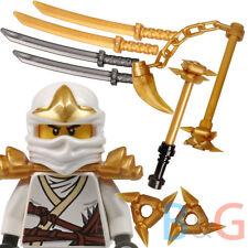 LEGO Ninjago Zane ZX + Set/5 Weapons Katana Shuriken Hammer Wiggly Chains