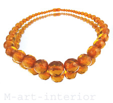 Antik Bernstein Kette Facetten Collier Königsberger Schliff Amber Necklace
