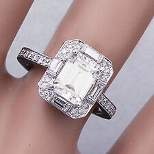 14K WHITE GOLD EMERALD FOREVER ONE MOISSANITE AND DIAMOND ENGAGEMENT RING 2.20CT