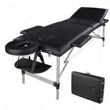 Portable Aluminum 3 Fold Massage Table Facial SPA Bed Tattoo W Carry Case Black