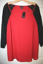 """""""Torrid"""" Long Sleeve Georgette Top~Scoop Neck~Lace Sleeves~Red/Black~1~NWT"""
