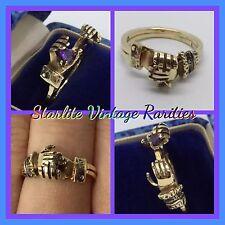 Vintage Fede Gimmel Ring Amethyst Secret Heart 14k Gold Gimmal Betrothal Hand