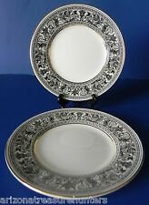 "Wedgwood FLORENTINE BLACK + GOLD 6"" Bread Plates SET OF 2 New-Old-Stock"