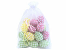 Bag of 18 Pastel Gingham Hanging Mini Hanging Easter Eggs by Gisela Graham
